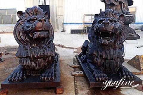 Life Size Bronze Lion Statue Front Porch for Sale BOKK-662