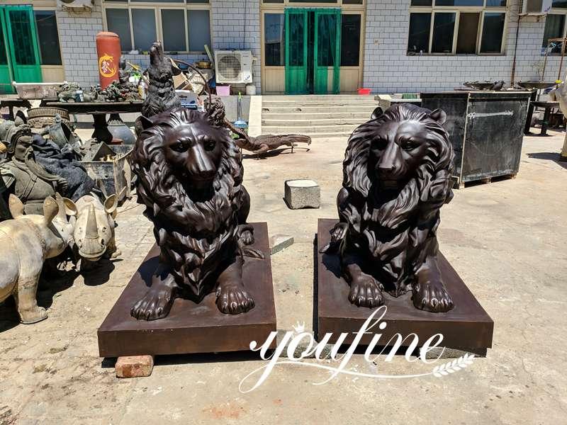 Life Size Bronze Lion Statue Front Porch for Sale