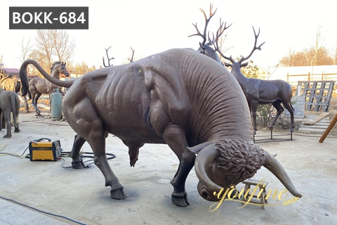Life Size Fighting Bull Sculpture Farmhouse Decor for Sale BOKK-684