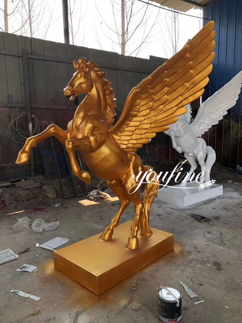 Life Size Golden Winged Horse Sculpture for Sale