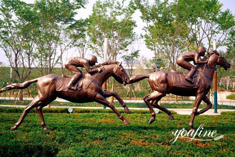 Large Antique Bronze Horse and Rider Statues Racecourse for Sale