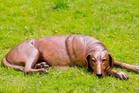 Life-size Fine Cast Bronze Dog Statue Garden Decor for Sale BOKK-699