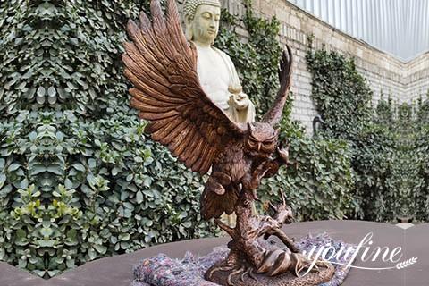 Life-size Antique Bronze Owl Sculpture for Garden Decor for Sale BOKK-989