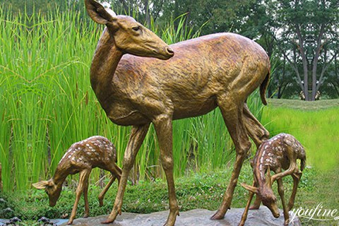 Fine Cast Life Size Bronze Deer Sculptures for Sale BOKK-285