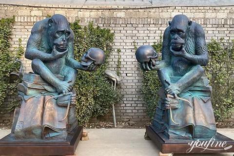 Bronze Ape With Skull Statue Garden Decor for Sale BOK1-008